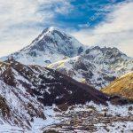 Winter view of Kazbek (Kazbegi) mountain, Georgia.